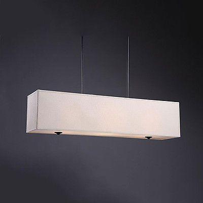 rectangular dining room light fixtures | Modern-3-Light-Rectangular-Chandelier-Beige-Shade-Pendant ...