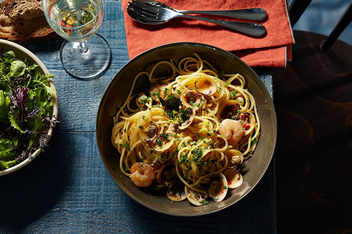 Spaghetti with prawns, vongole, lemon, chilli and parsley