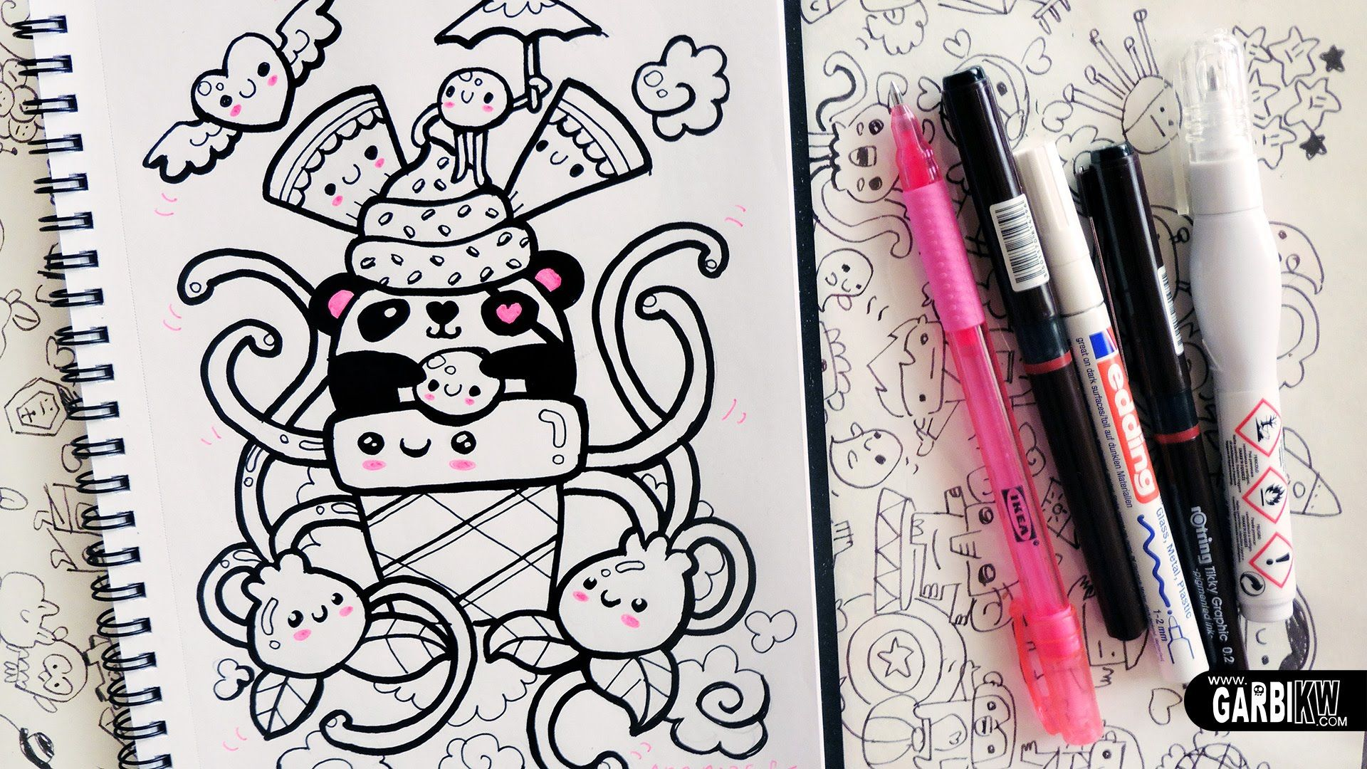 kawaii panda ice cream hello doodles easy drawings by garbi kw