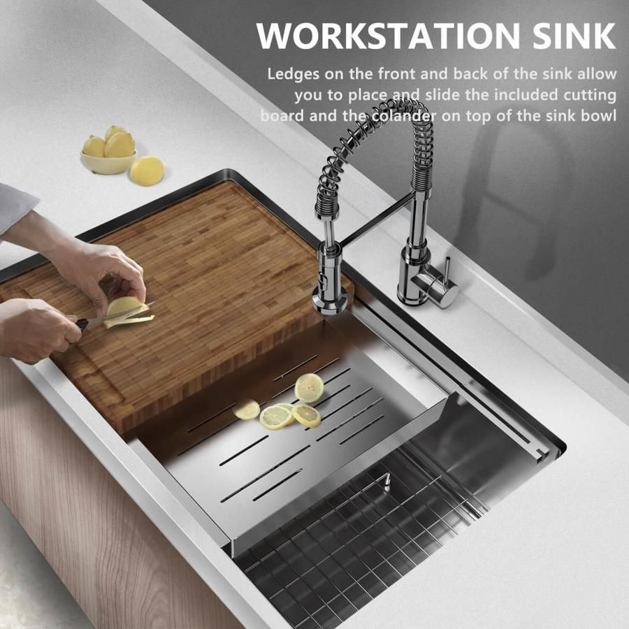 Clihome 30 In X 19 In Silver Single Bowl Undermount 1 Hole Commercial Residential Workstation Kitchen Sink All In One Kit With Drainboard Lowes Com Undermount Kitchen Sinks Single Bowl Kitchen Sink Sink