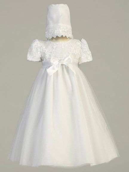 Baby Girl Christen Baptism Embroidered Taffeta Dress Gown With Bonnet
