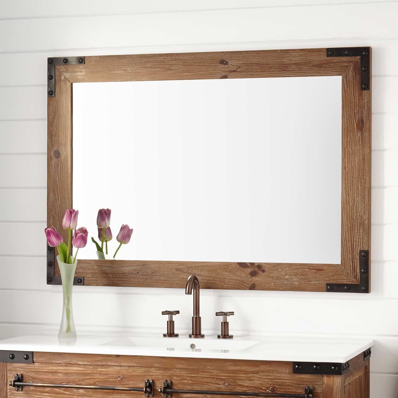 Bonner reclaimed wood vanity mirror pine bathroom