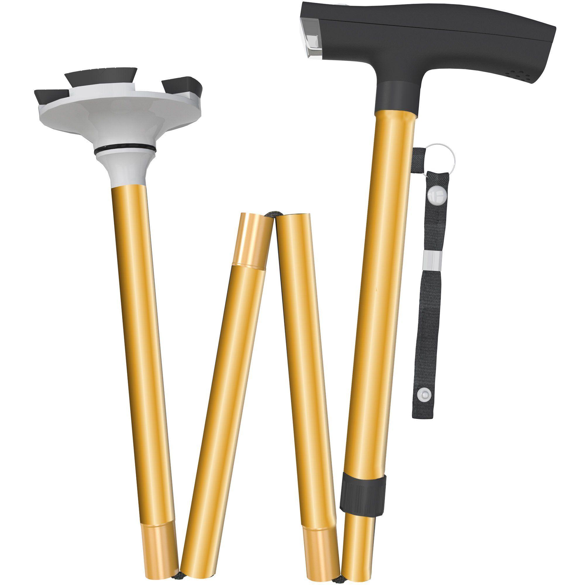 Foldable Walking Cane with LED Flashlight - Travel Adjustable ...