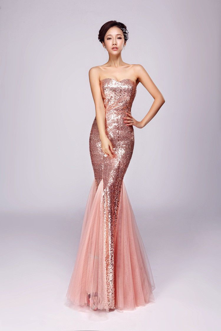 Awesome amazing women long sequins evening formal party bridesmaid