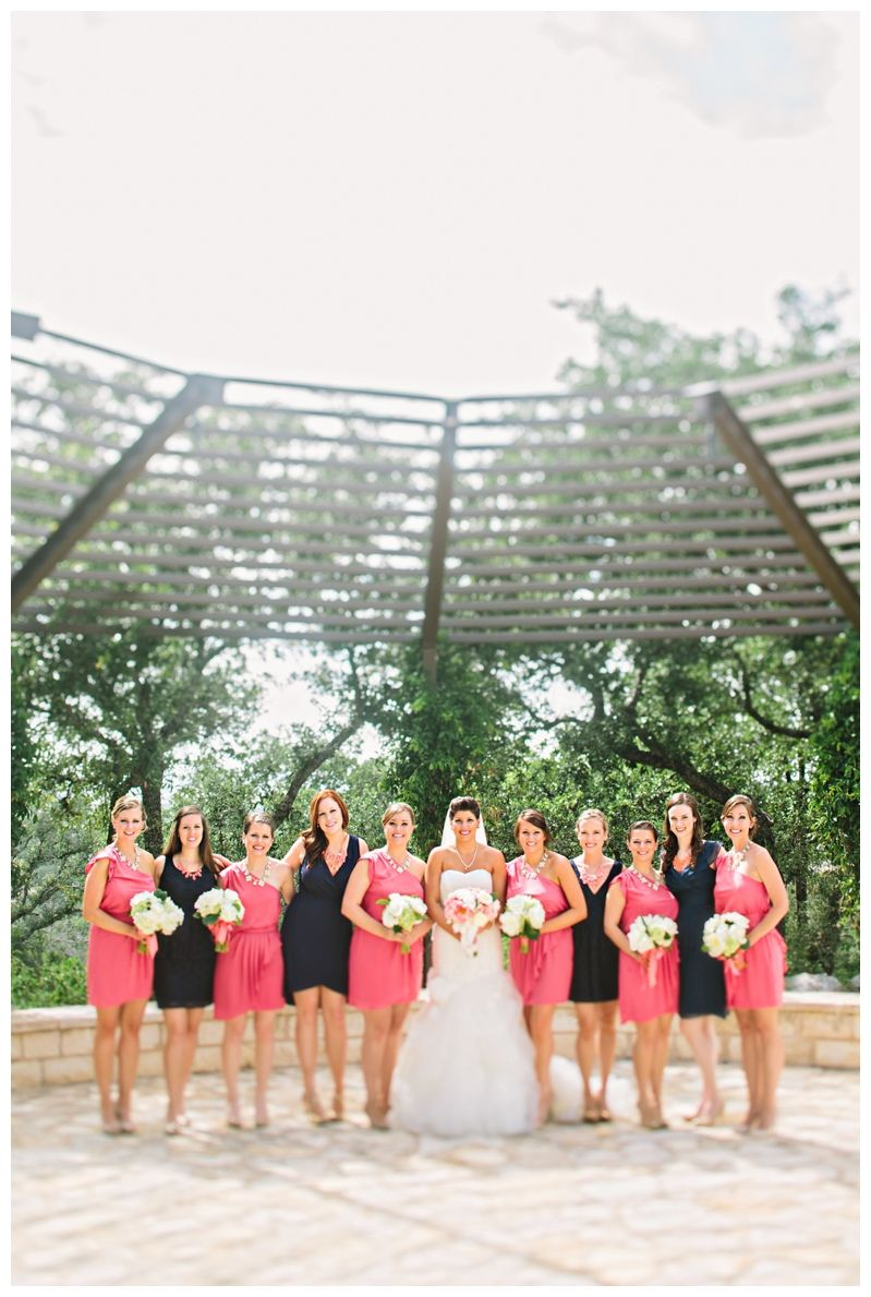 f8bee06cc87a This is really cute. Mix and match of coral and navy bridesmaid ...