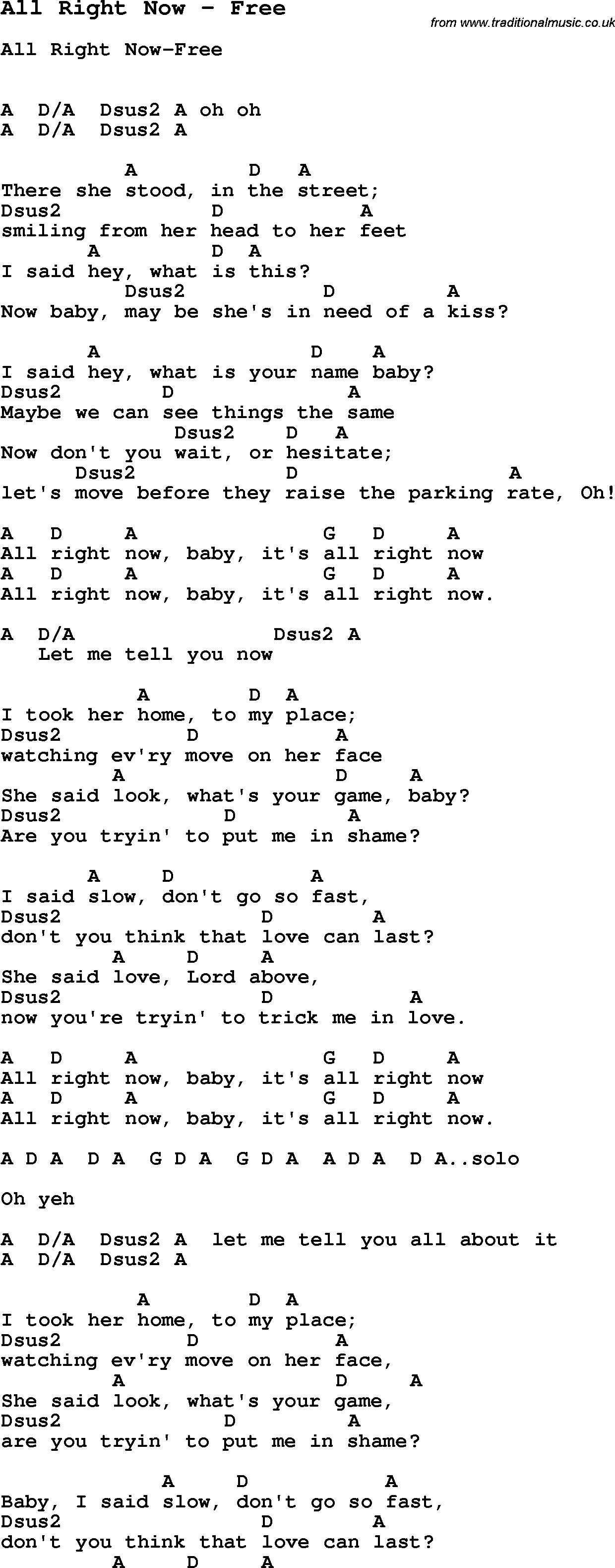 Lyrics of now