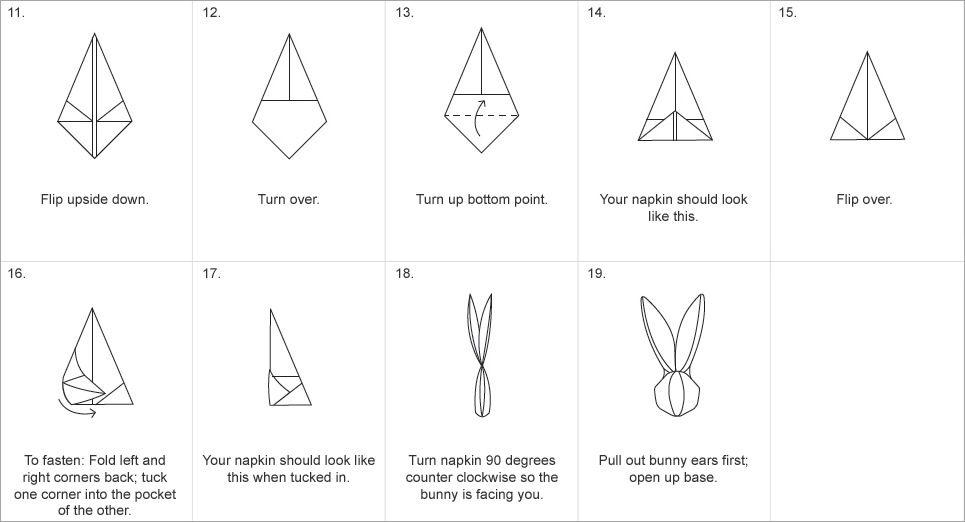 Bunny napkin fold 2