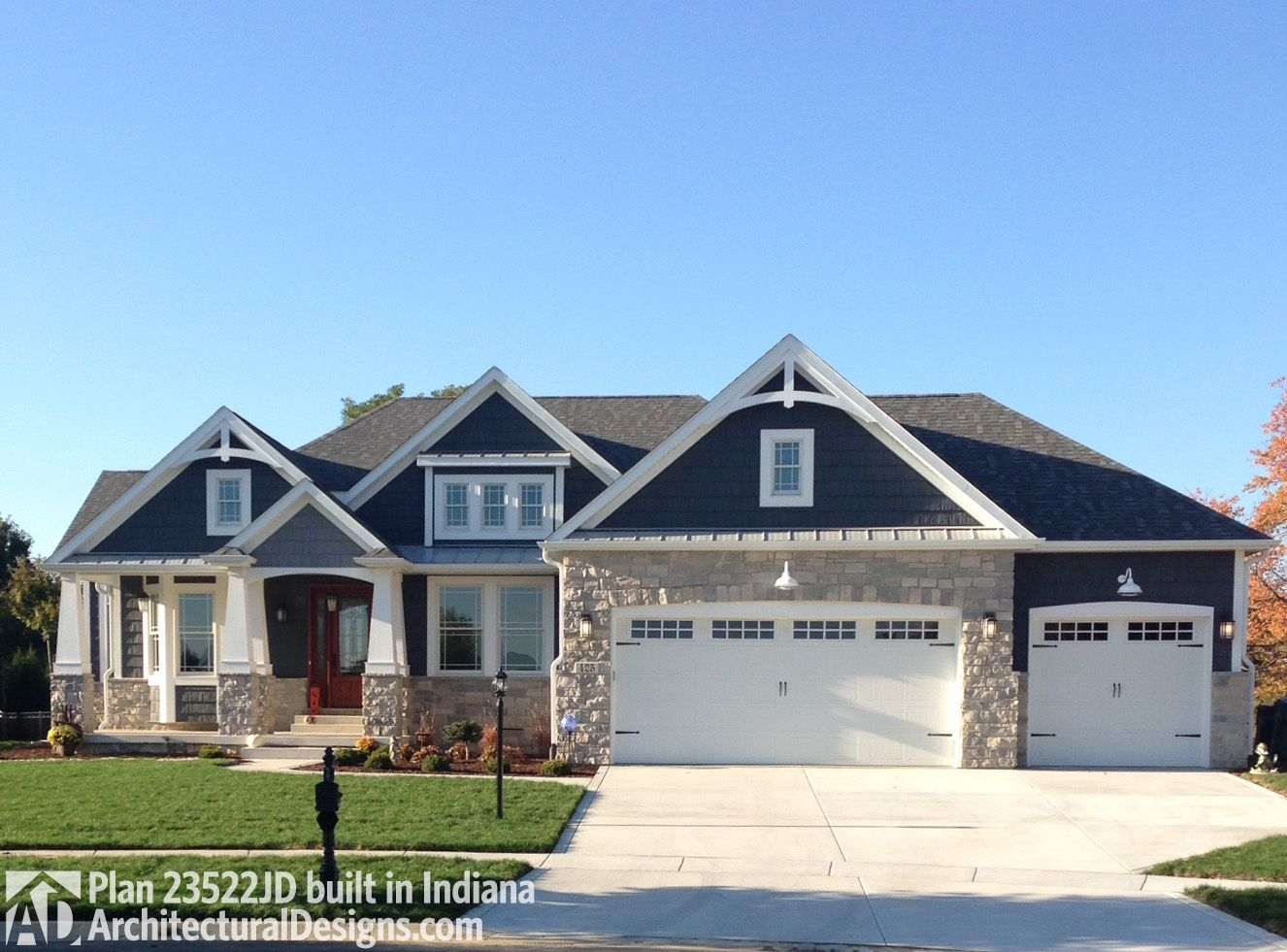 Plan 23522jd craftsman with multiple garage options in - Craftsman home exterior paint colors ...