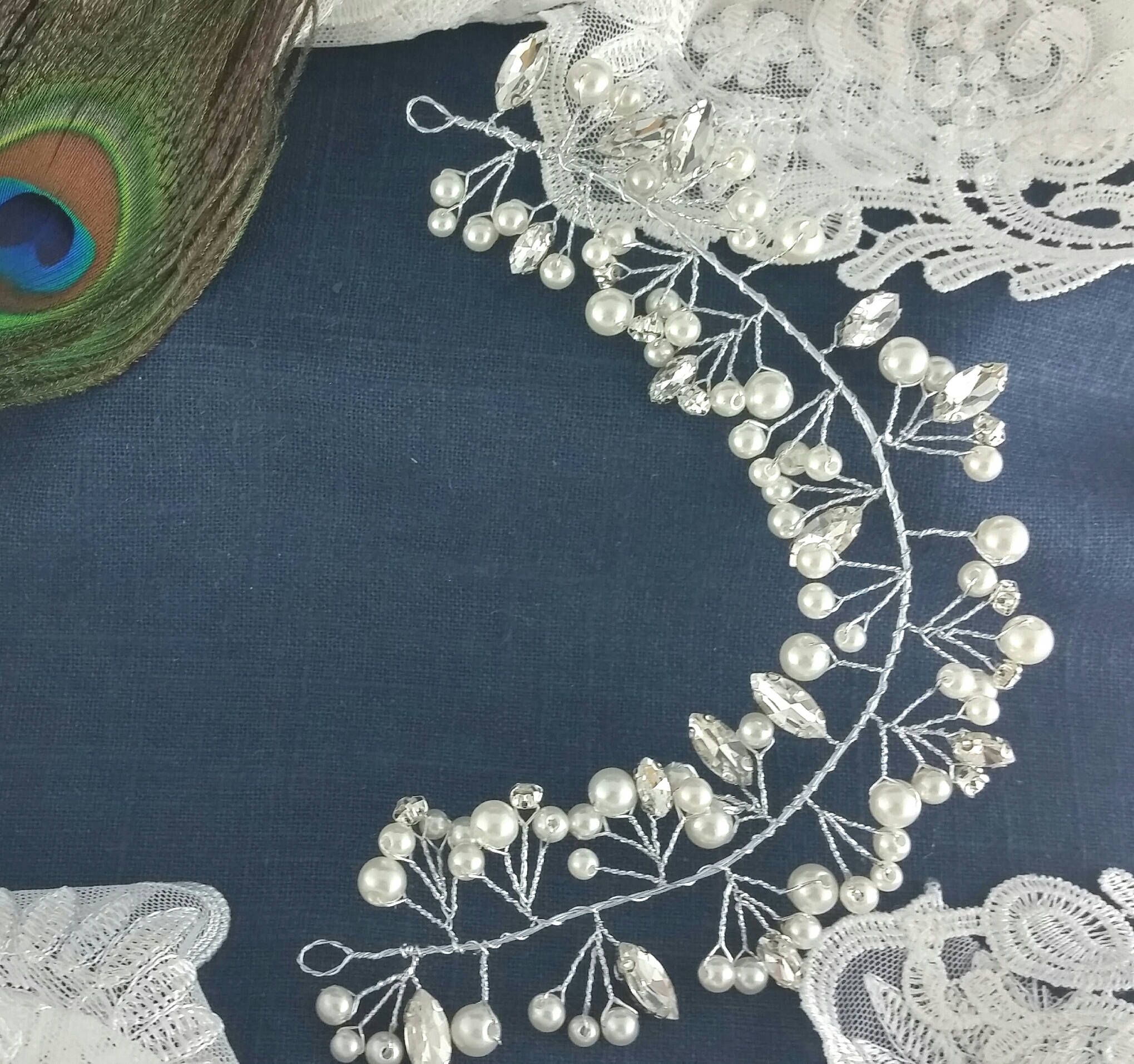 Silver Pearl Headpiece, Pearl Bun Wrap, Crystal Ivory Pearl Hair Vine