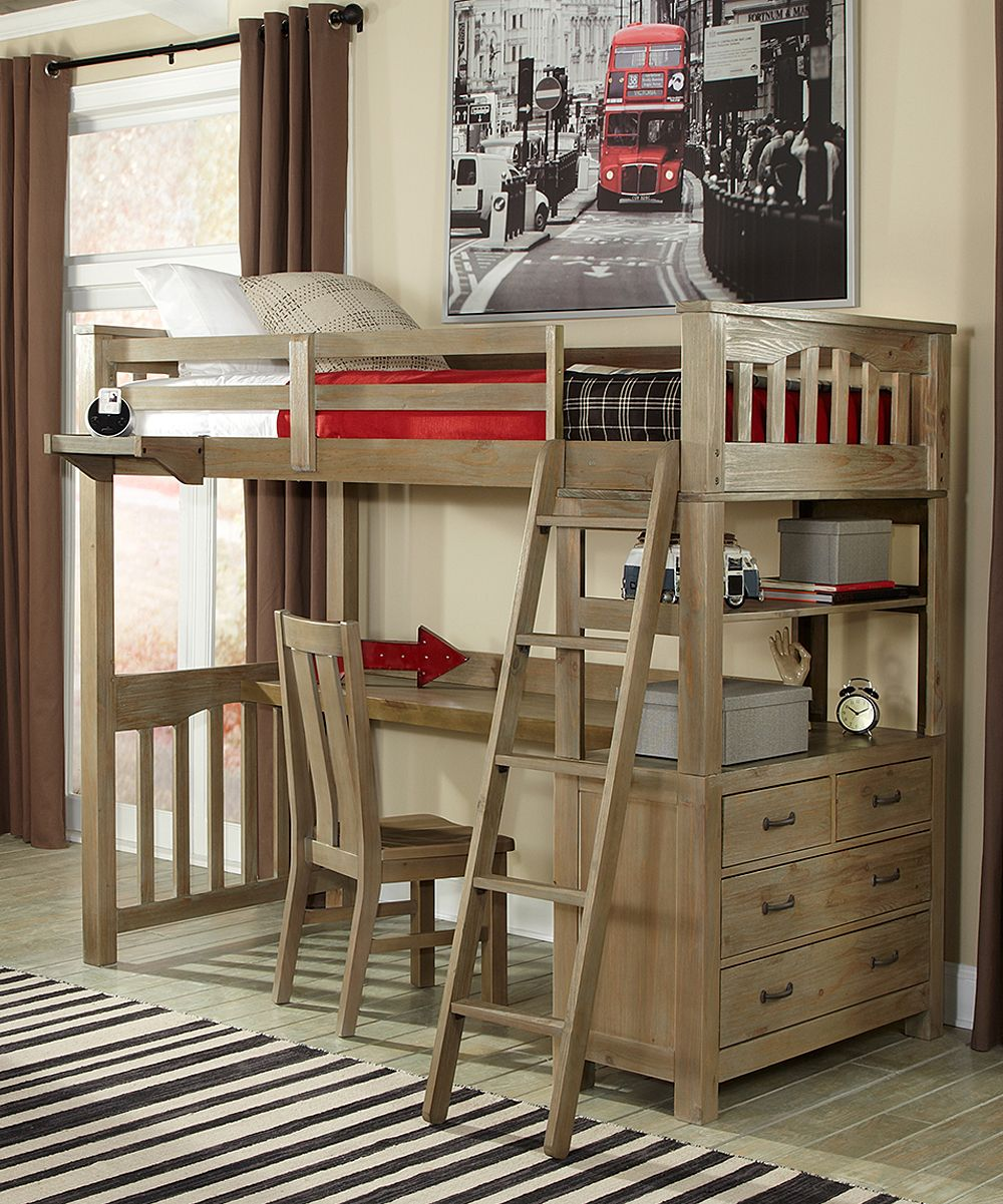 Wooden loft bed with desk  Driftwood Highlands Twin Loft Bed with Desk  Loft beds Desks and