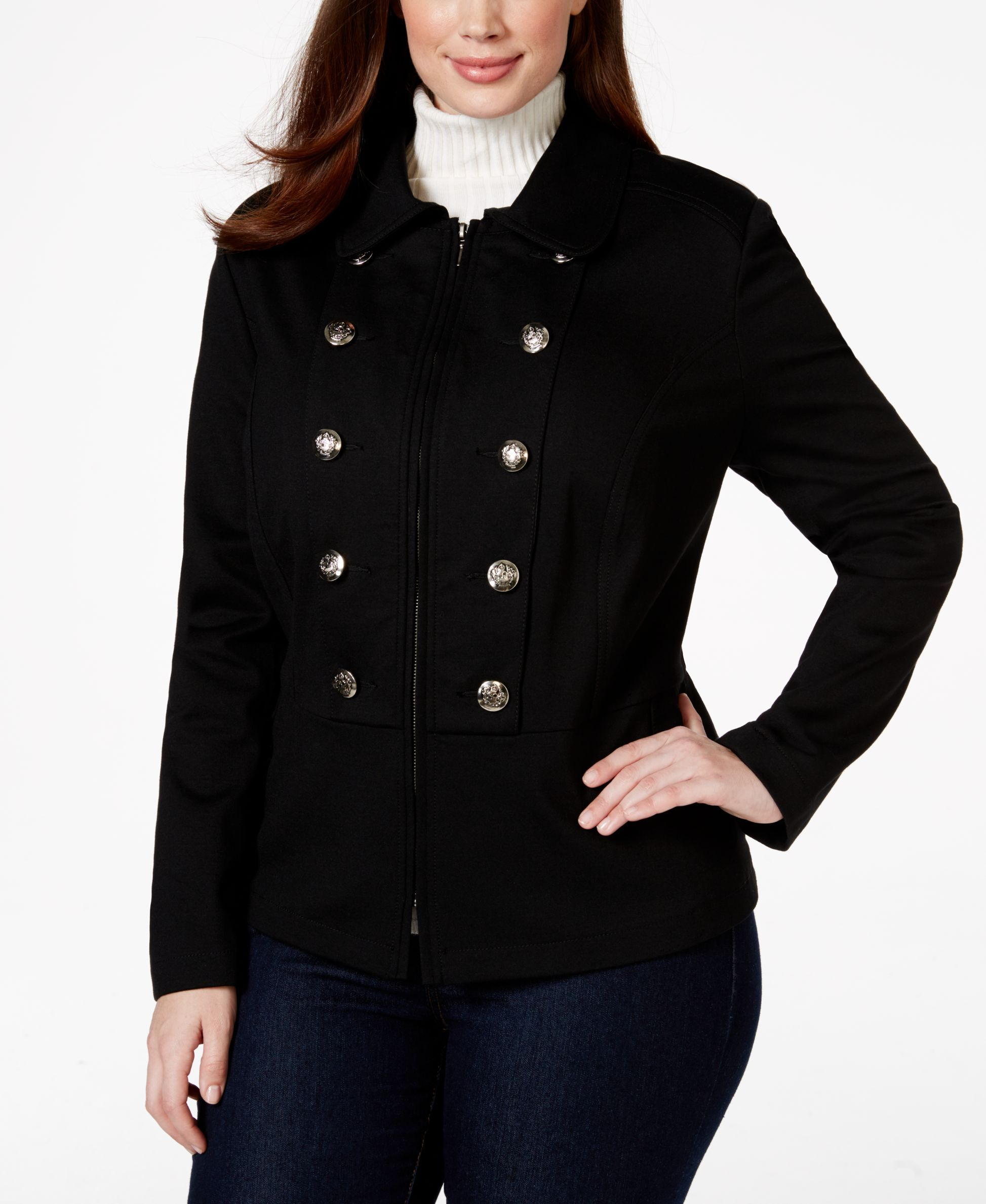 c907c5d0194 Inc International Concepts Plus Size Double-Breasted Peplum Military Jacket