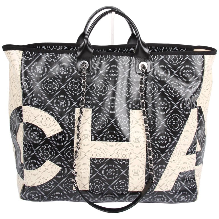 6d954313ac07af Chanel black and white Deauville Canvas Tote Runway Bag, 2018 | From a  unique collection