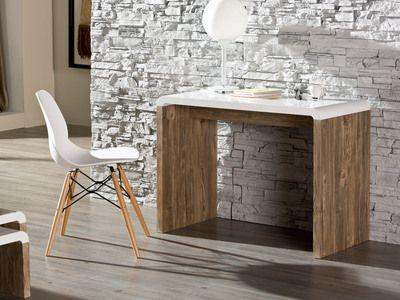 Bureau avec plateau laqué blanc et piétement décor chêne L100xH74cm