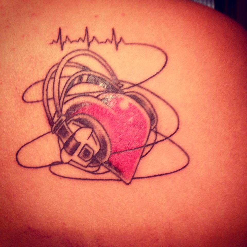 music tattoo heart with headphones and heart beat my