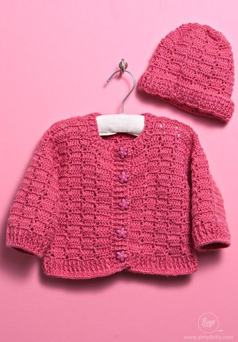 Crochet a baby sweater and hat for your little one using free ...