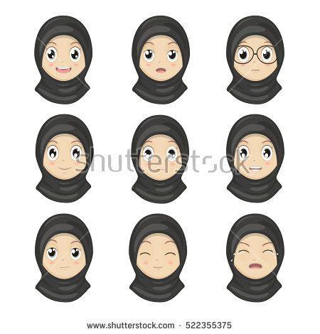 Muslim Girl Emotion Faces Cartoon Women Expression Faces Vector
