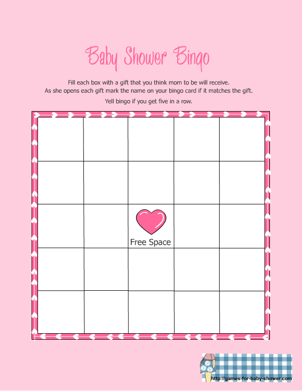 Baby Shower Memory Game Template Part - 24: Baby Shower Bingo Printable Blank | Free Printable Baby Shower Gift Bingo  Game In Pink Color