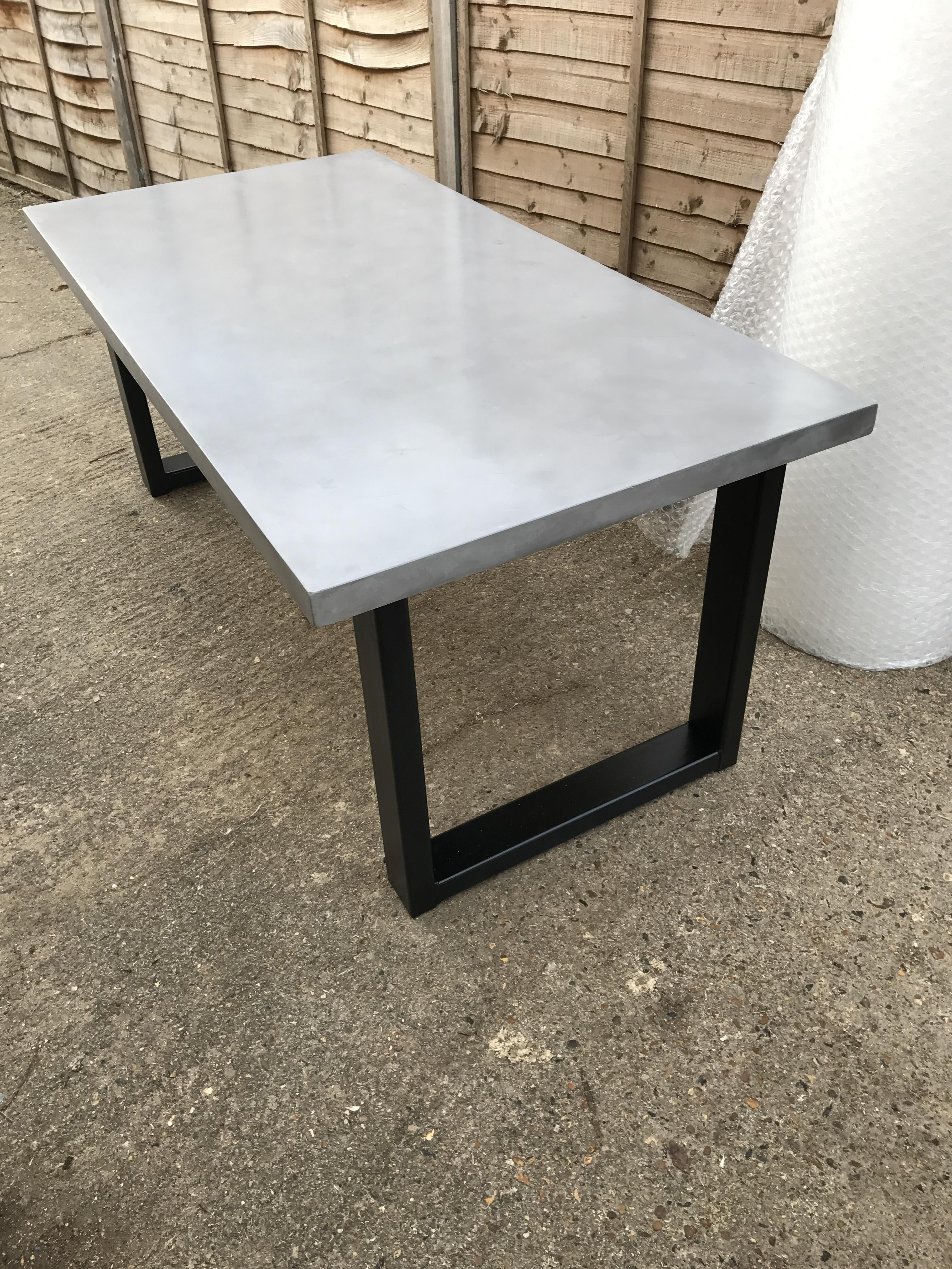 Chunky Polished Concrete Dining Table Stone Dining Table Concrete Dining Table Dining Table #stone #living #room #tables