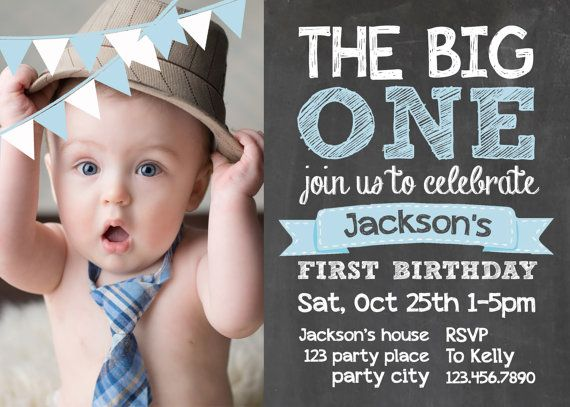 Chalkboard first birthday invite card 1st birthday Photo Card Custom - invitation card for ist birthday