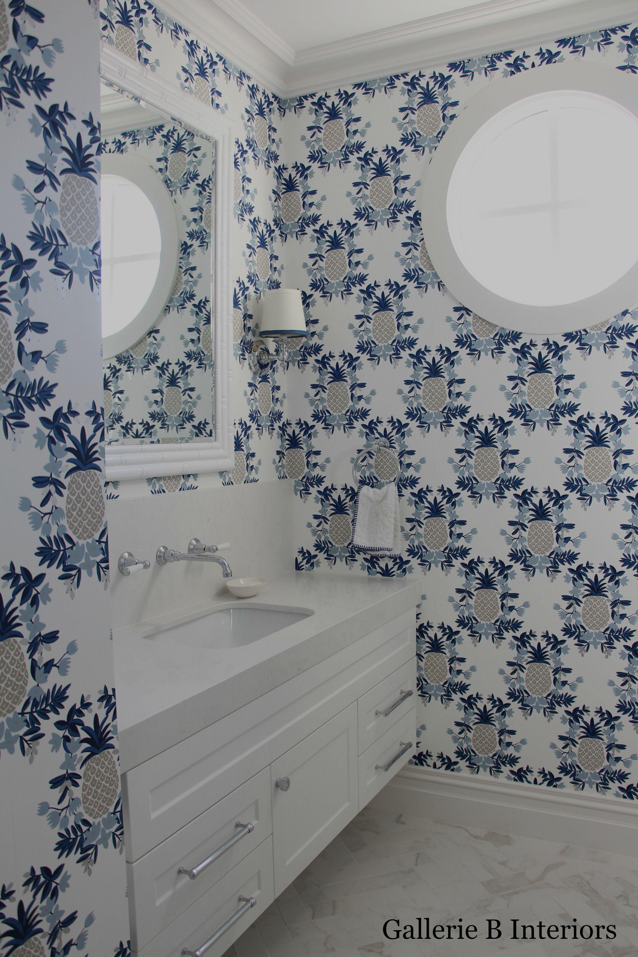 Pineapple wallpaper in my girls\' powder room. Gallerie B Interiors ...