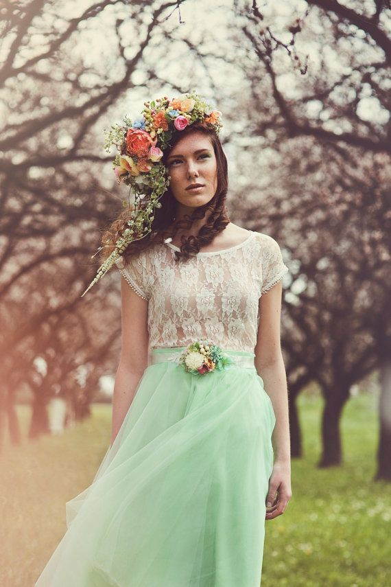 Flower Hair Wreath Romantic Pink Yellow Green Wedding Crown Bridal Headpiece Woodland Headwreath Flowers Boho Accessories