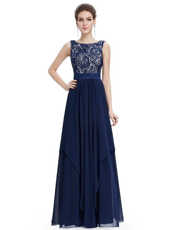Long Simple Cheap Chiffon Lace Navy Blue Prom Dresses Gown 2016 ...