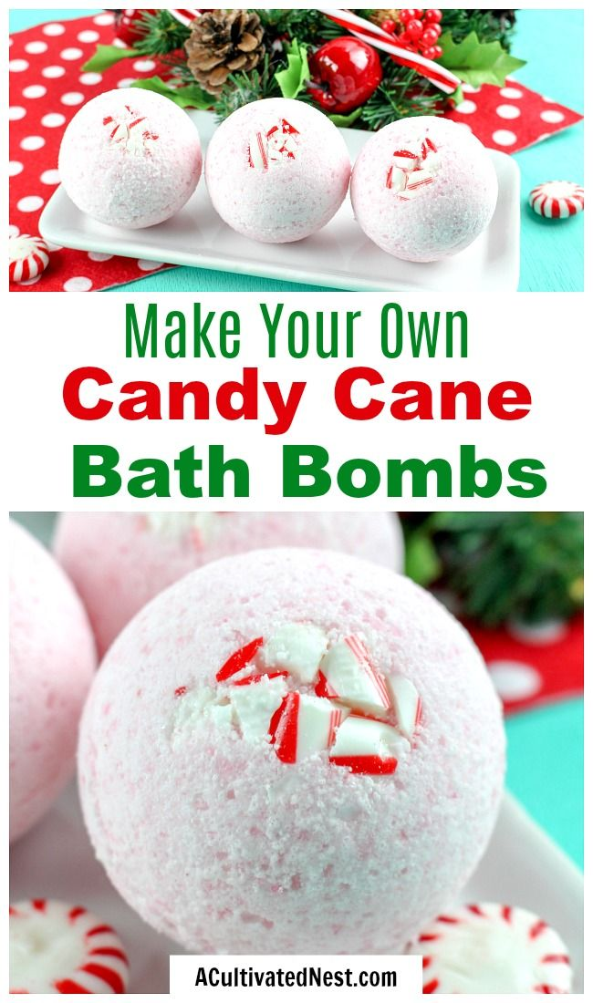 DIY Candy Cane Bath Bombs Homemade Gift Idea A