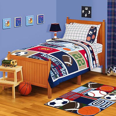 SUPER SET Boys SPORTS Comforter Sheets Curtains Rug Bedding Bedroom SET TWIN