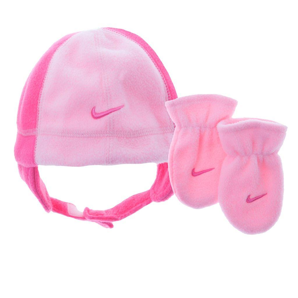 710902fd81a Baby Girl Nike Fleece Beanie   Mittens Set