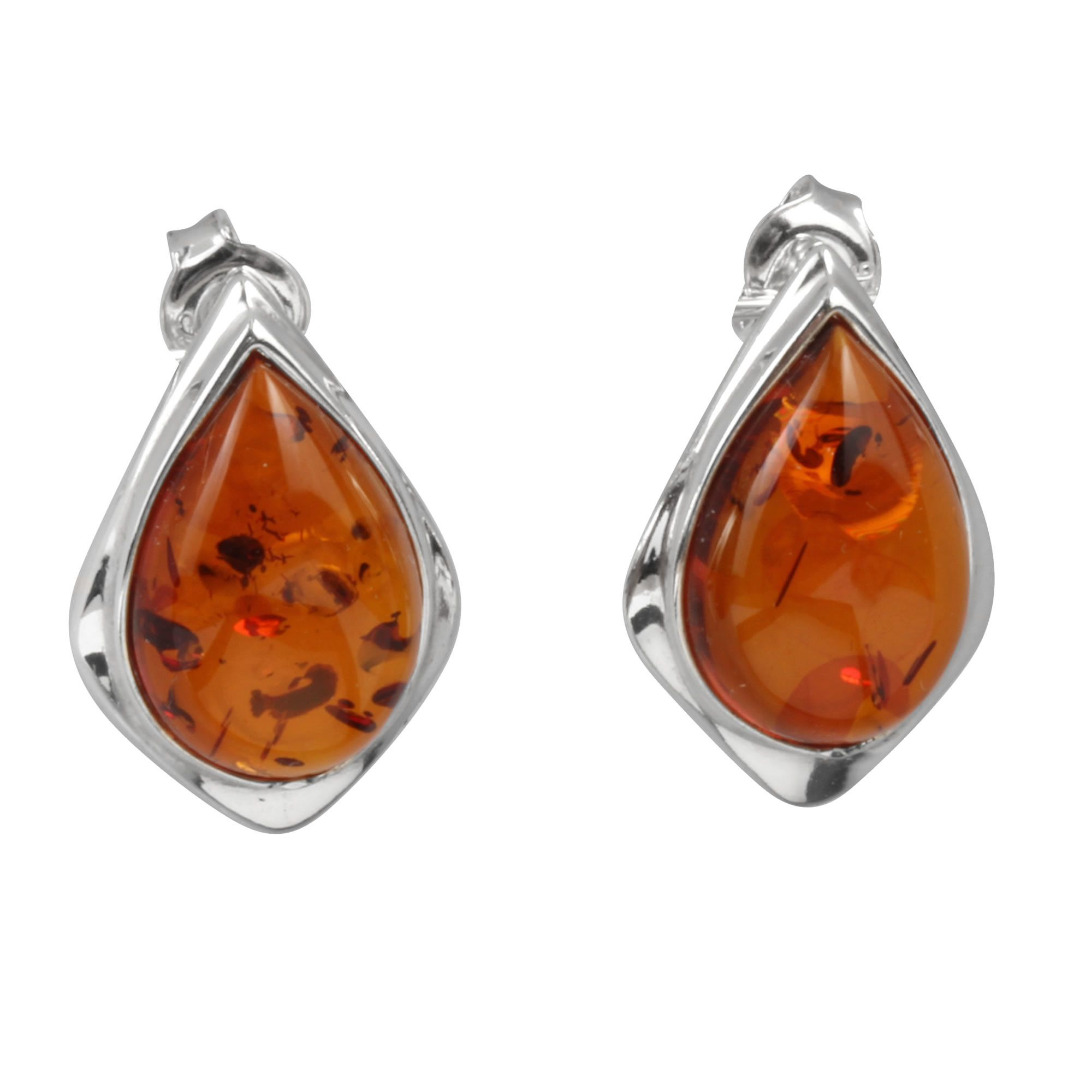 Baltic Honey Amber and Sterling Silver Tear-drop Earrings 73vbfJUA