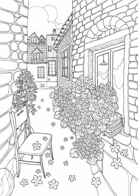 Coloring Pages Of A Flower Balcony