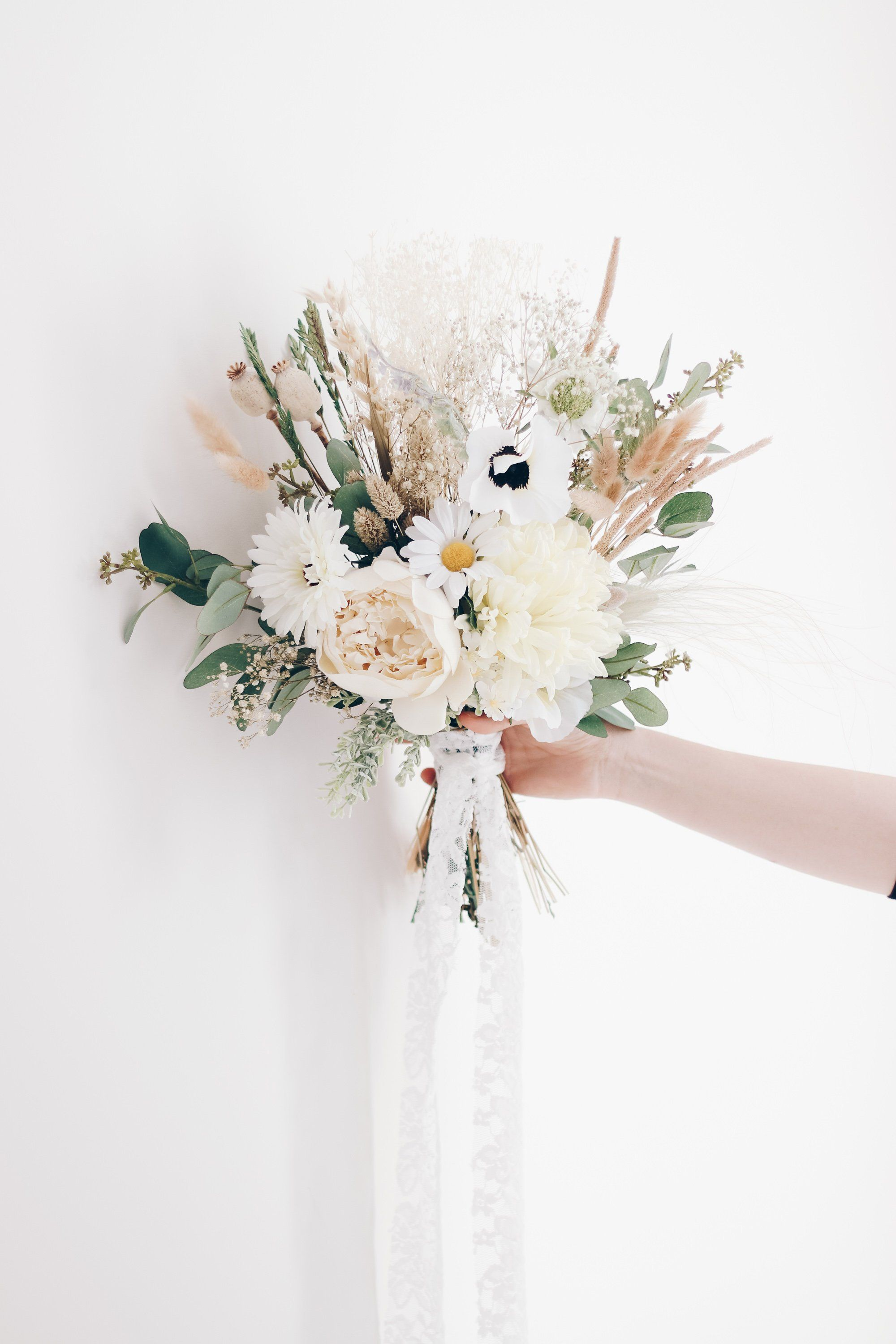Dried Flowers Wedding Bouquet Bunny Tail Wedding Bouquet Ivory