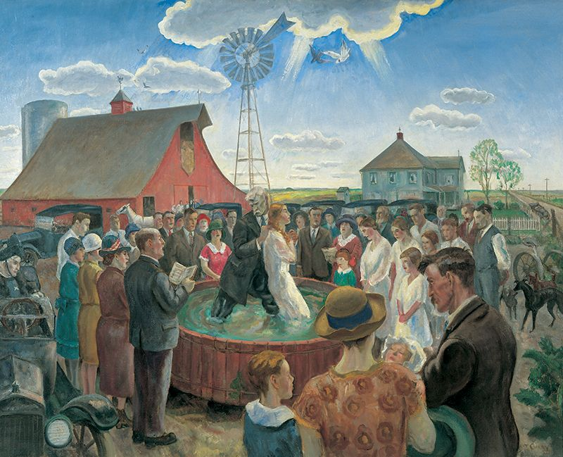 Baptism in Kansas by John Steuart Curry (1928) Whitney