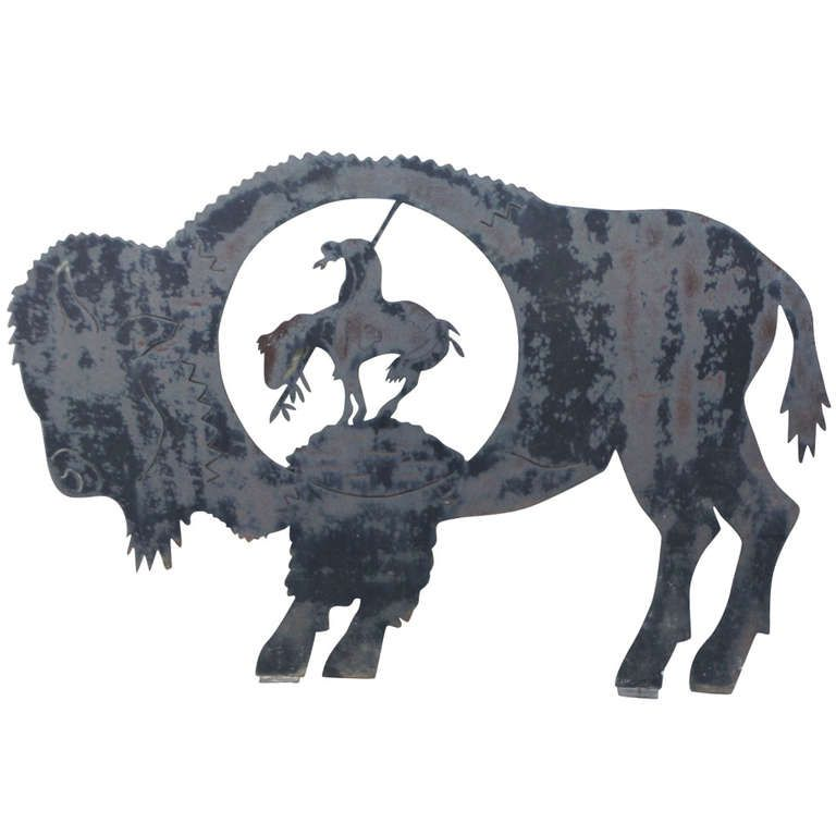 1stdibs Com Monumental Trade Sign Of The End Of The Run Indian On Horse Buffalo Buffalo Art Bison Art Art