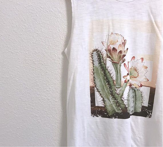 a555e8f7063 Cactus Graphic Tank   Desert Graphic Tee   Vintage Tee   Womens Cactus  Graphic T-shirt   Outdoors Ts