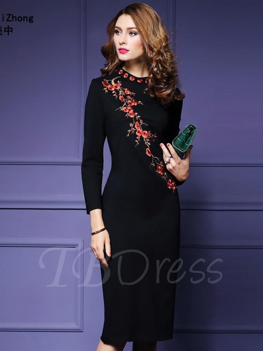 Black Embroidery Womens Sheath Dress