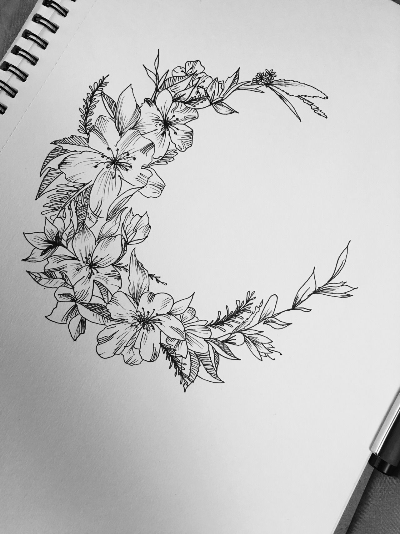 This ones for me floral moon design tattoos for days for Moon architecture