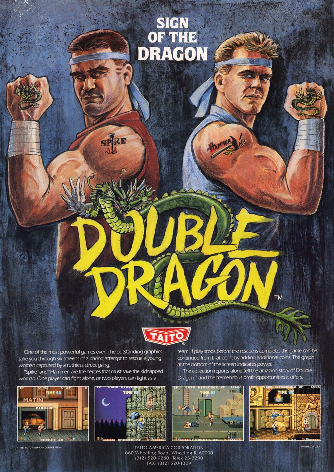 Framed Sega Master System Gaming Print Double Dragon Picture