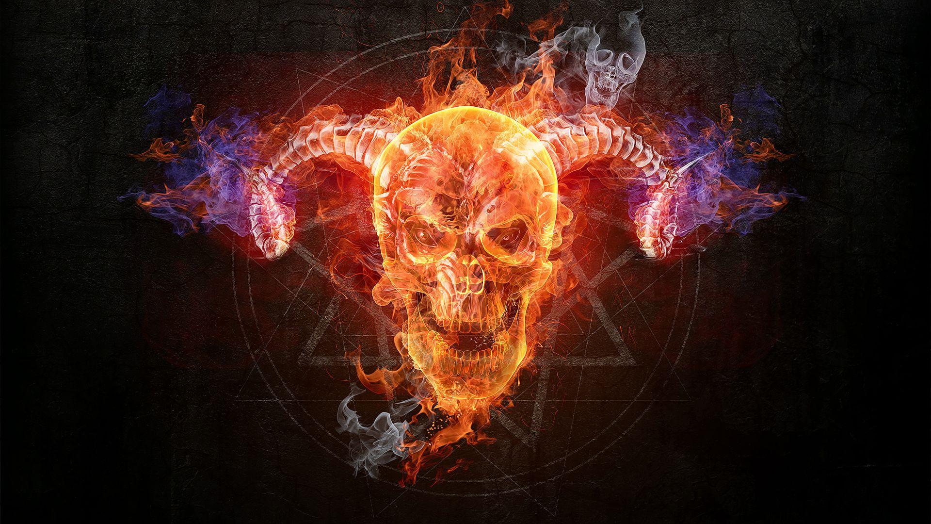 Flaming Skull Wallpaper Free Skull Wallpaper Skull Flame Art