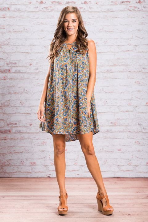 This trendy little dress has your name written all over it! It's gorgeous paisley print is so colorful and fun! The cut is beautifully loose and flowing! It's so good for warm weather!! You are going love this dress for all those reasons and so many more!