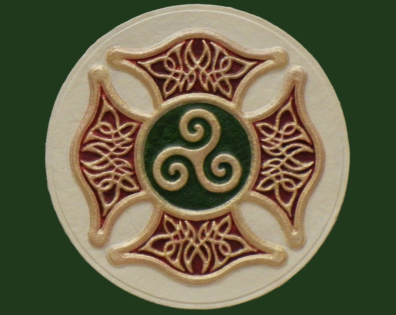 Celtic Firefighter's Cross Irish Art Maltese By Castpaper
