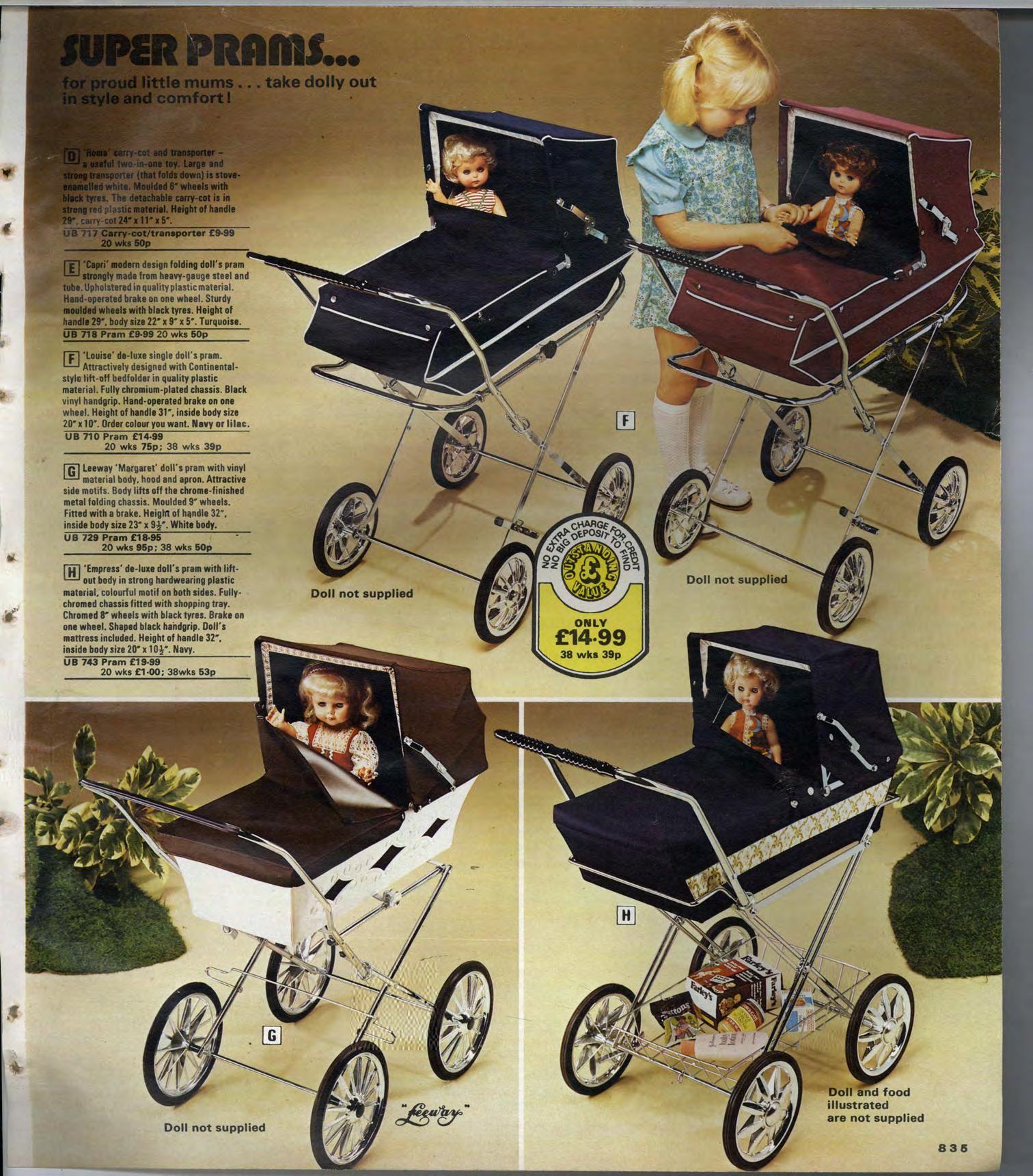 1970s toy dolls prams
