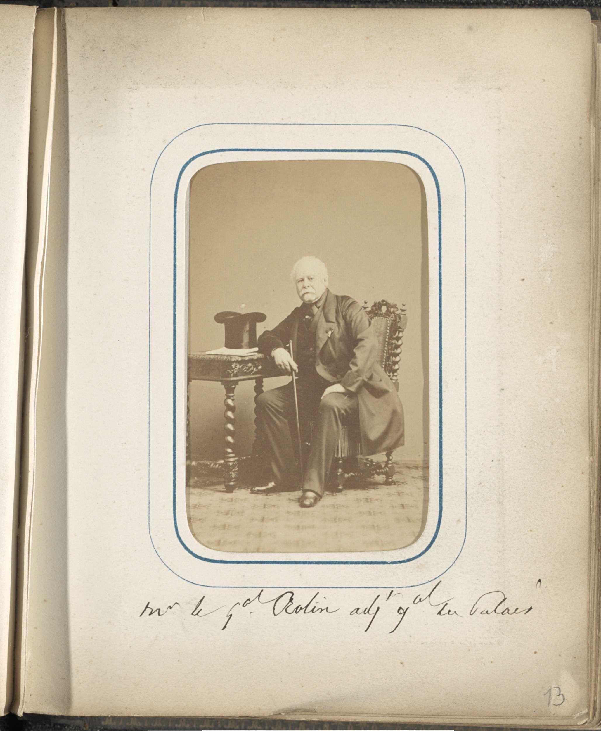 Anonymous | Portret van generaal Rolin, Anonymous, c. 1860 - in or before 1869 | Onderdeel van Fotoalbum met 24 cartes-de-visite van Franse personen.