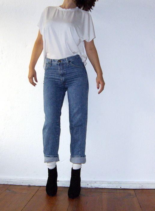 Jeans wrangler original vintage 70er 80er jahre high waist mittelblau gr 26 34 gr s - 80er damenmode ...