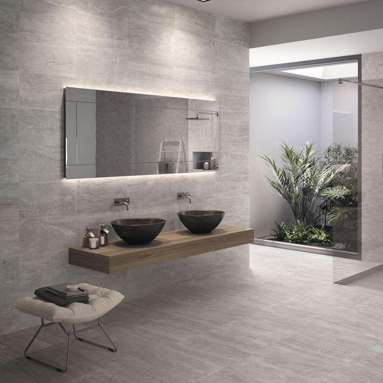Badfliesen in Steinoptik grau Badezimmer Gestaltungsideen Pinterest