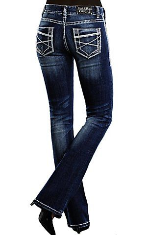Rock & Roll Cowgirl® Women's Dark Wash Deco Embroidered Mid Rise Boot Cut Jean | Cavender's Boot City