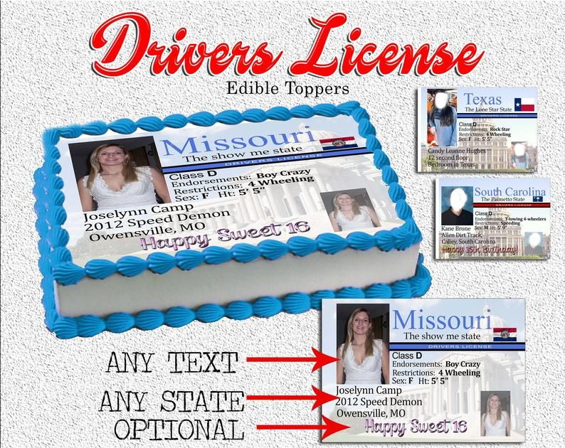 Sweet Sixteen Drivers license birthday edible cake toppers