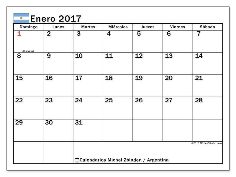 Calendario 2016 Argentina.Gratis Calendarios Para Enero 2017 Para Imprimir