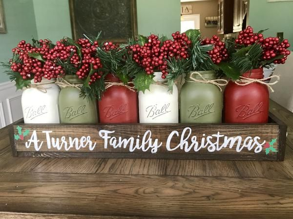 rustic christmas mason jar centerpiece stacy turner creations weihnachten glas. Black Bedroom Furniture Sets. Home Design Ideas