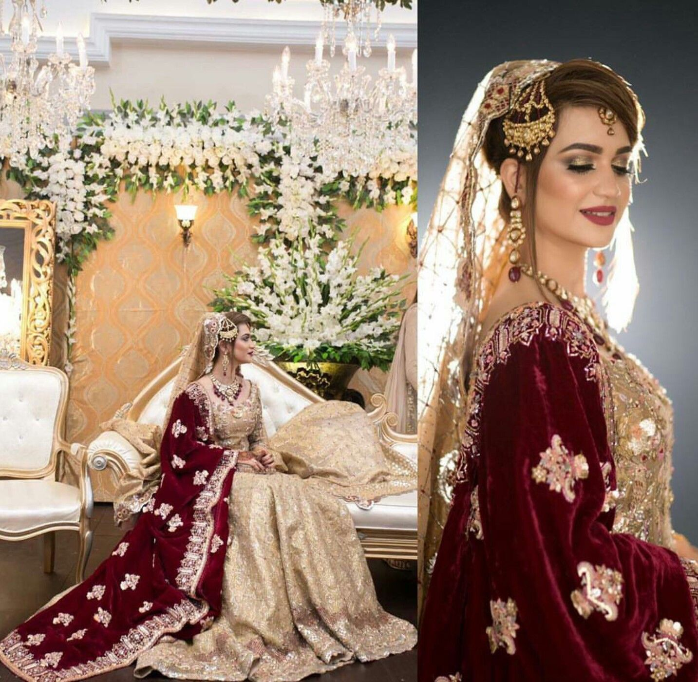 South asian wedding dresses  South Asian Bridal Lehenga  Velvet Dupatta wBeige Embroided